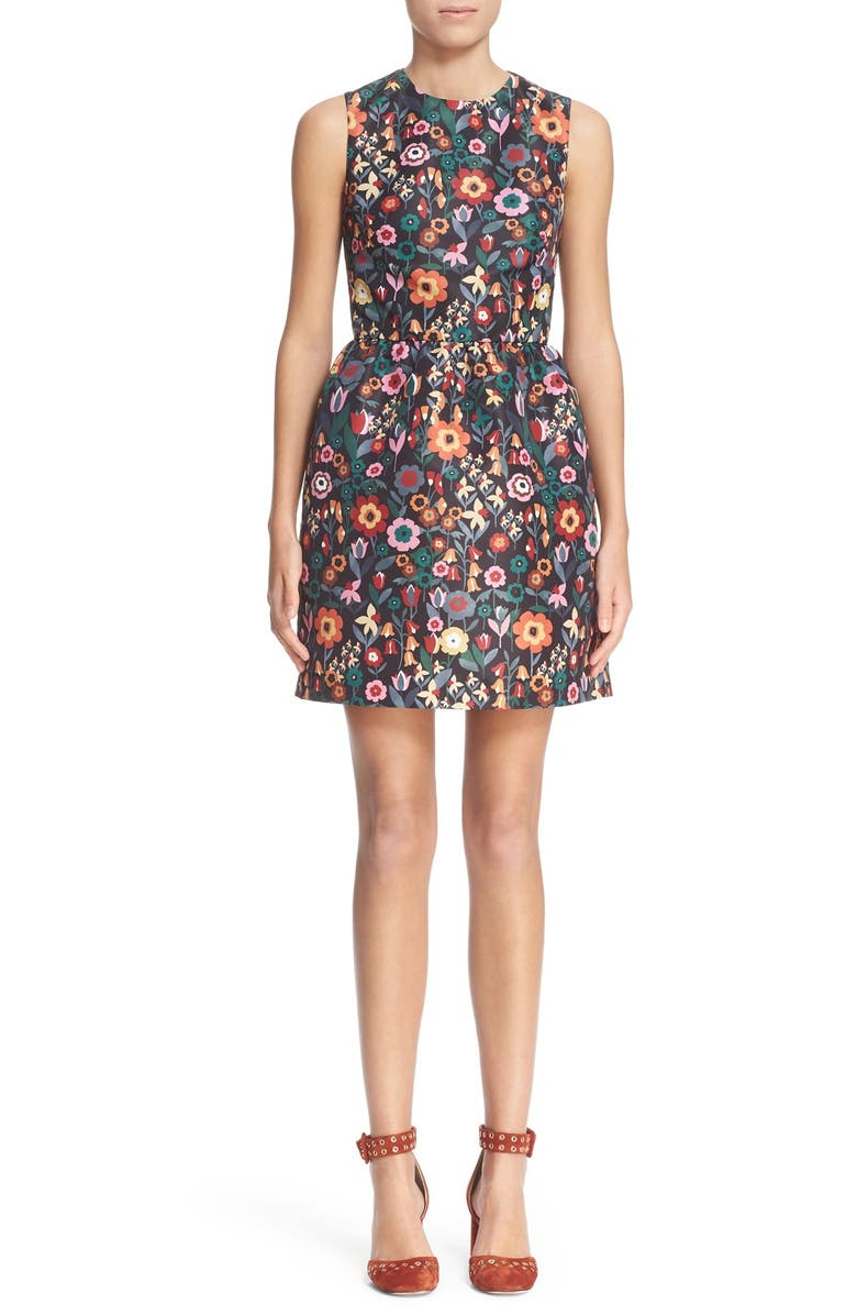 RED VALENTINO Floral Print Fit & Flare Dress, Main, color, 001