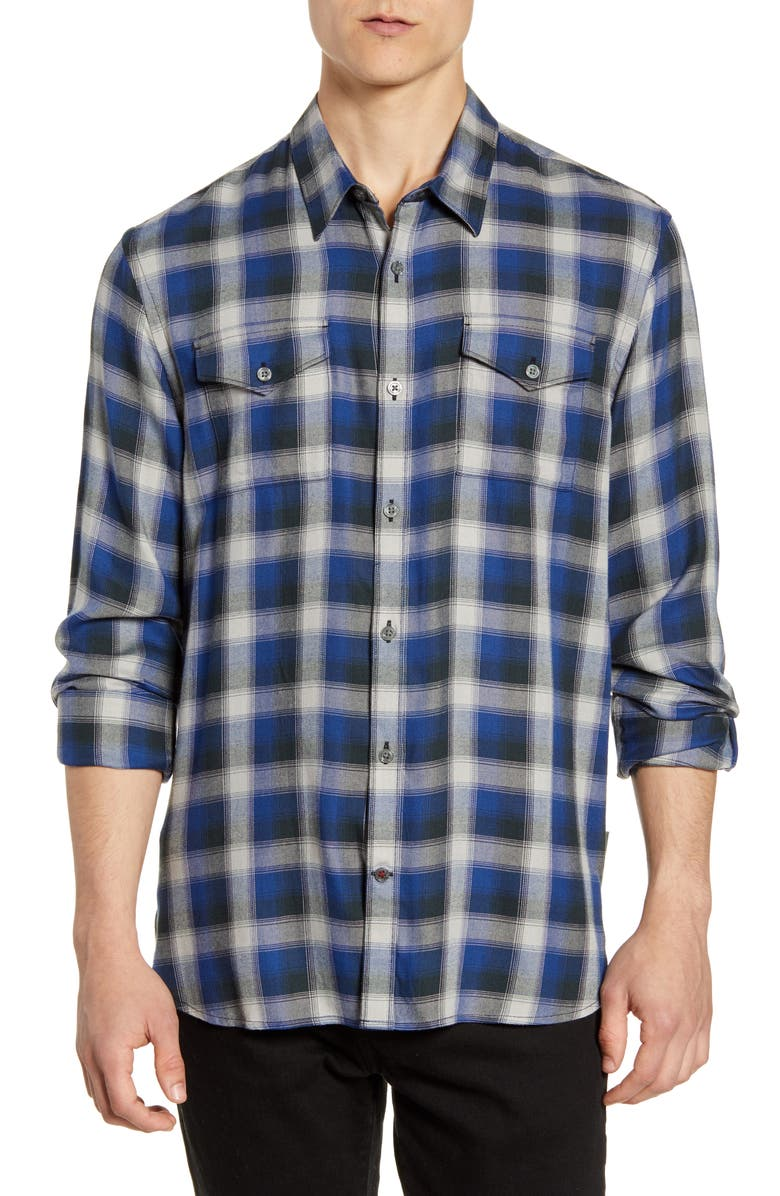 JOHN VARVATOS STAR USA Foster Slim Fit Plaid Button-Up Sport Shirt, Main, color, REGAL BLUE