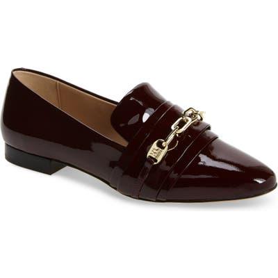Karl Lagerfeld Paris Nikki Buckle Patent Leather Loafer- Purple