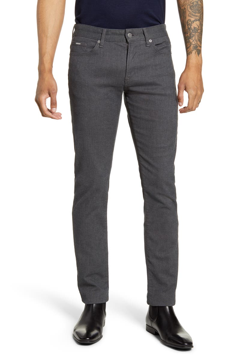 BOSS Delaware Slim Fit Stretch Twill Pants, Main, color, DARK GREY