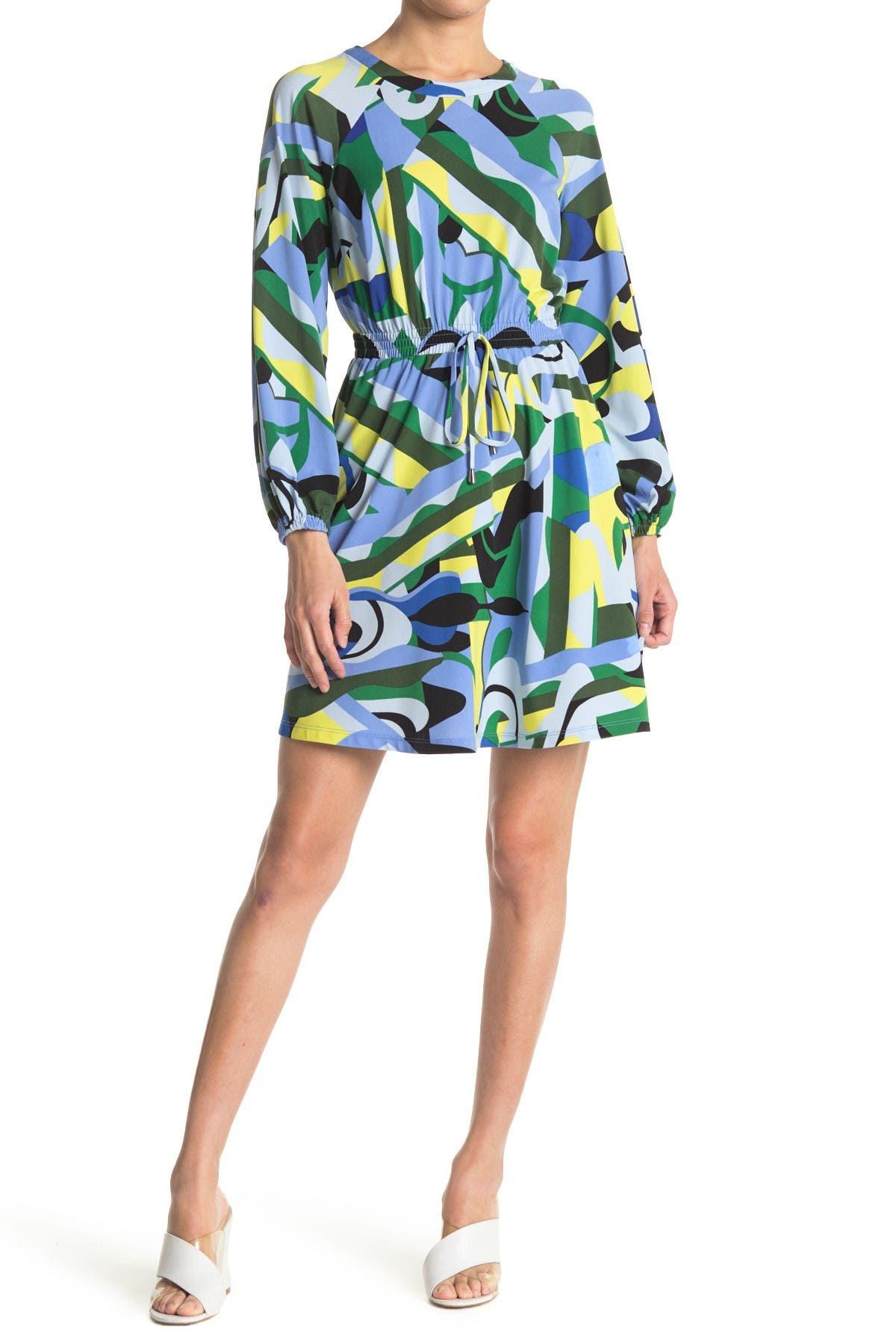 Image of Donna Morgan Abstract Print Drawstring Waist Dress