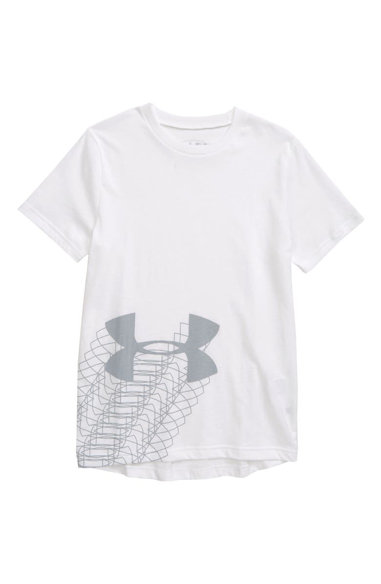 UNDER ARMOUR Linear Logo Graphic HeatGear<sup>®</sup> T-Shirt, Main, color, 100