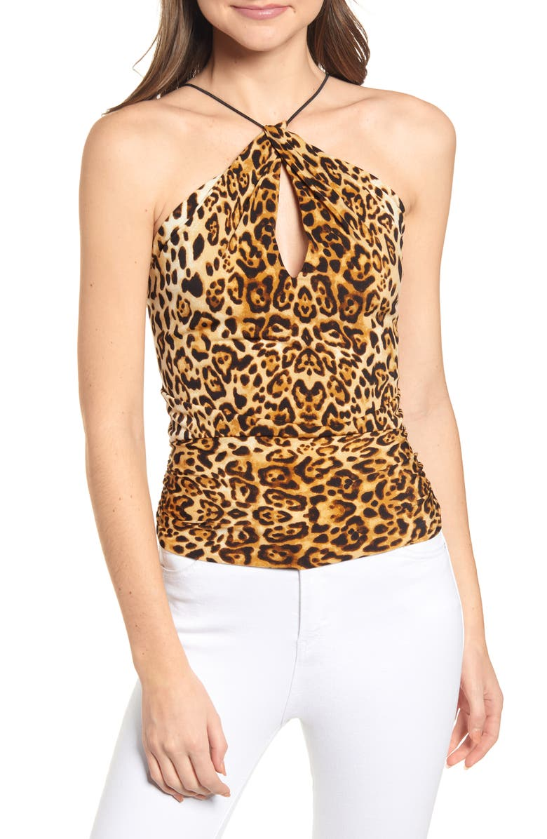 J.O.A. Leopard Print Keyhole Camisole, Main, color, LEOPARD PRINT