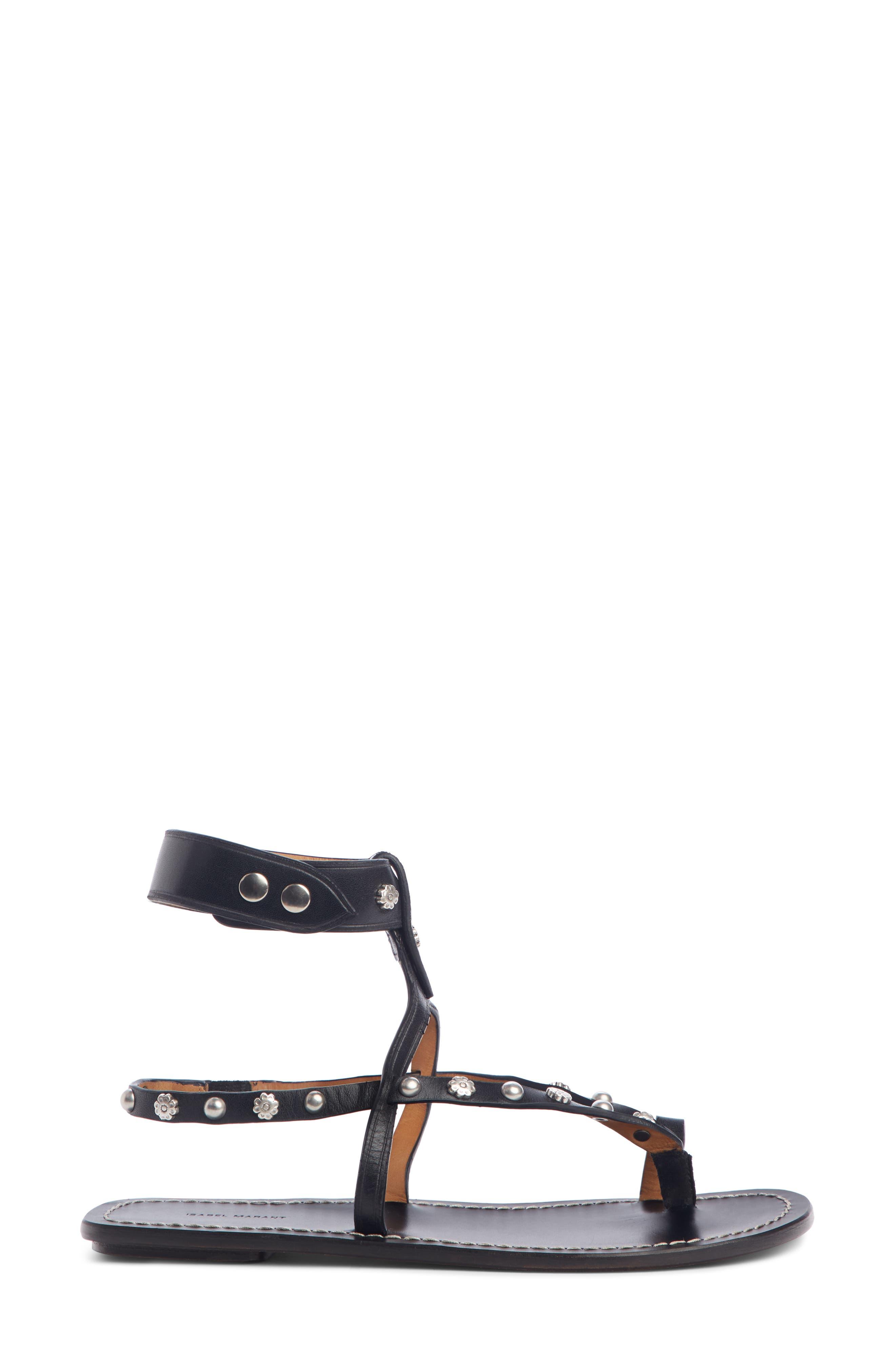 ,                             Engo Flower Studded Gladiator Sandal,                             Alternate thumbnail 3, color,                             001