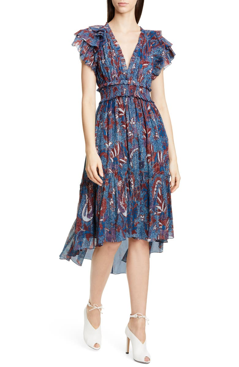 ULLA JOHNSON Cicely Silk Blend High/Low Dress, Main, color, AZUL
