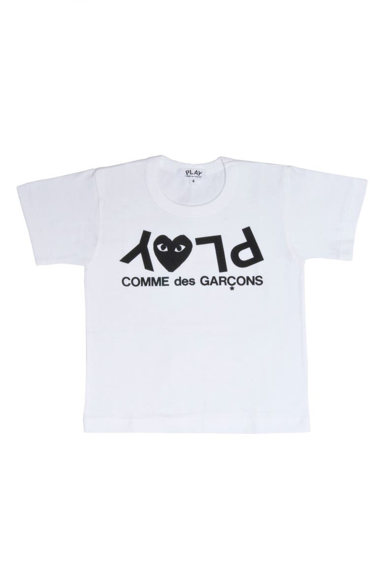 COMME DES GARÇONS PLAY Upside Down Logo T-Shirt, Main, color, WHITE