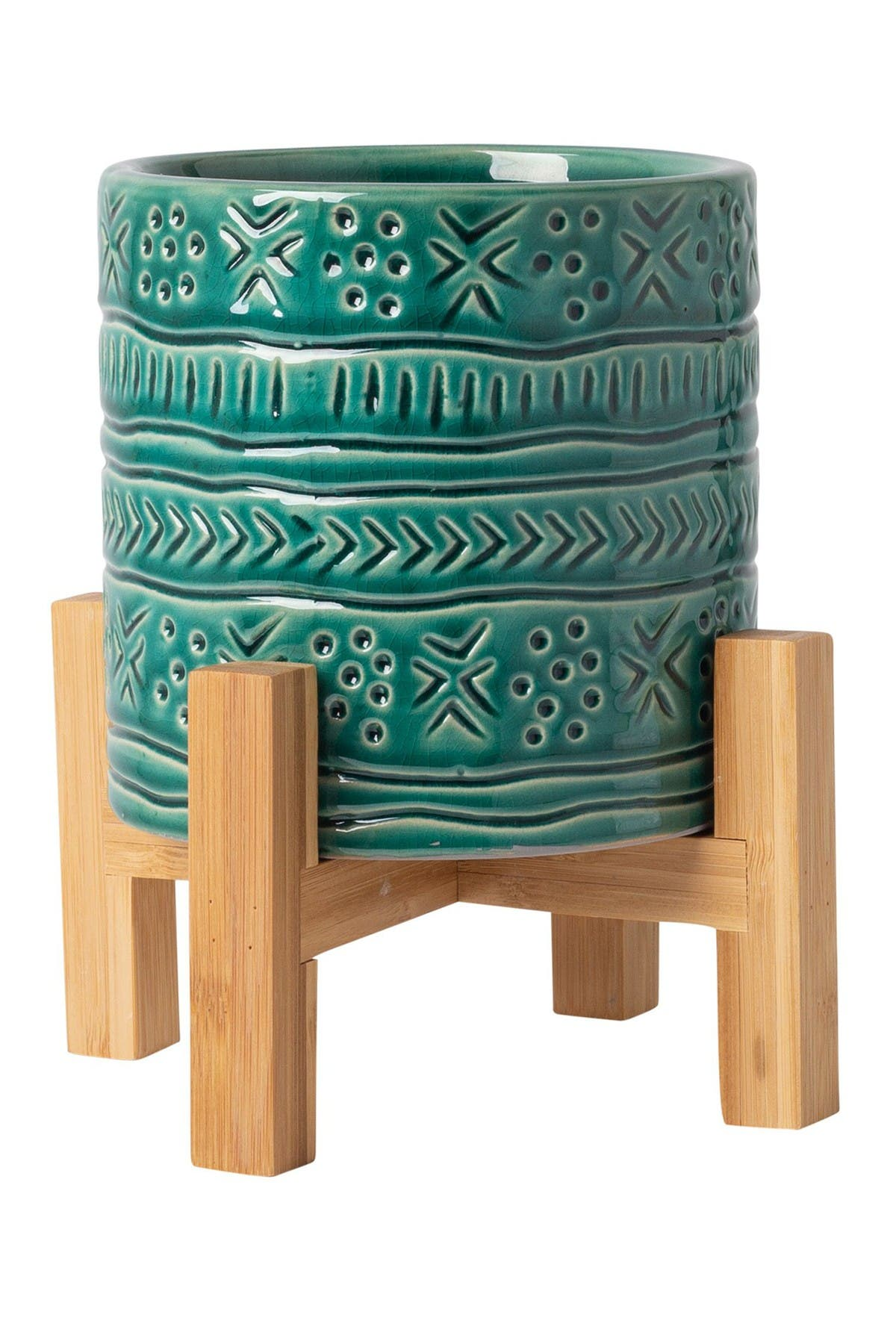 Image of Home Essentials and Beyond Teal Global Planter with Wood Stand