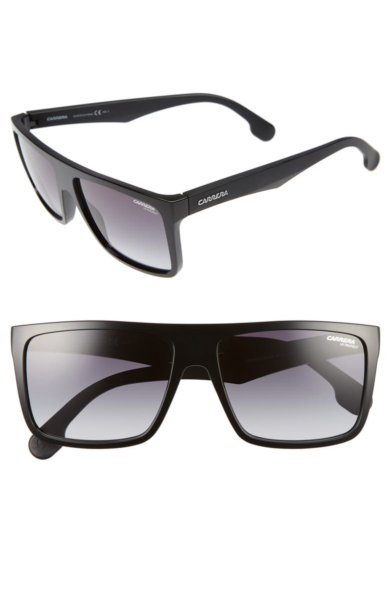 CARRERA EYEWEAR 58mm Sunglasses, Main, color, BLACK/ DARK GREY
