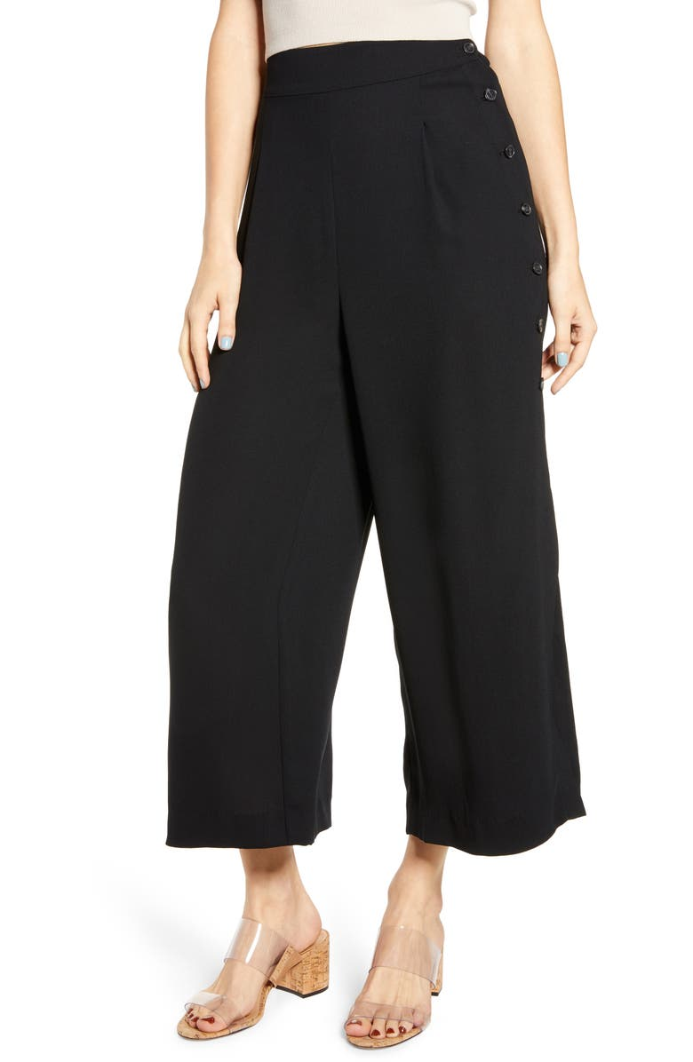 LEITH High Waist Side Button Crepe Pants, Main, color, BLACK