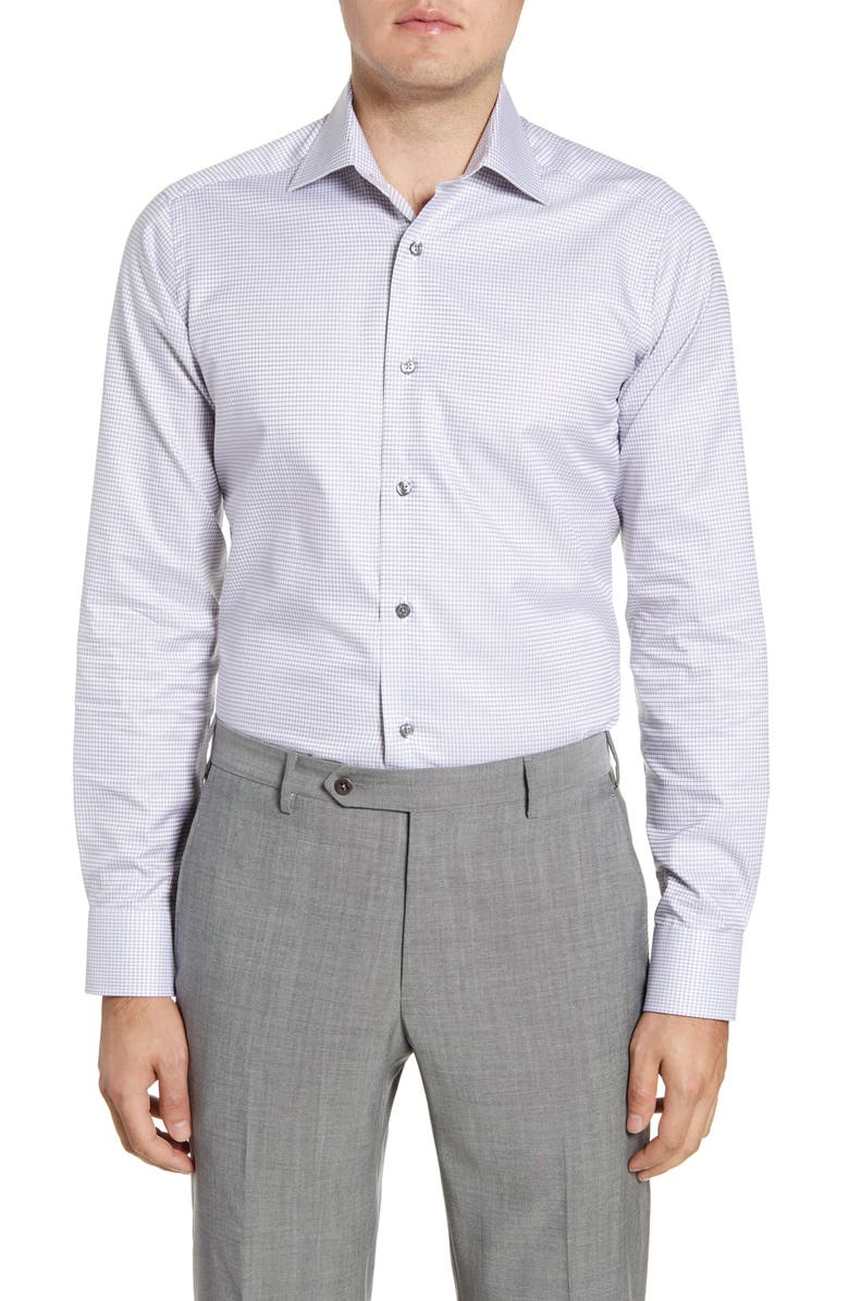 DAVID DONAHUE Slim Fit Check Dress Shirt, Main, color, GREY
