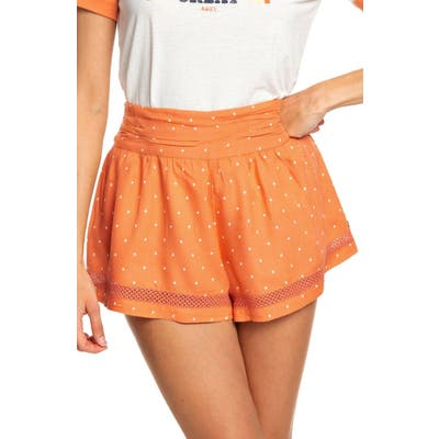 Roxy Boho Dreams High Waist Cotton Shorts, Orange