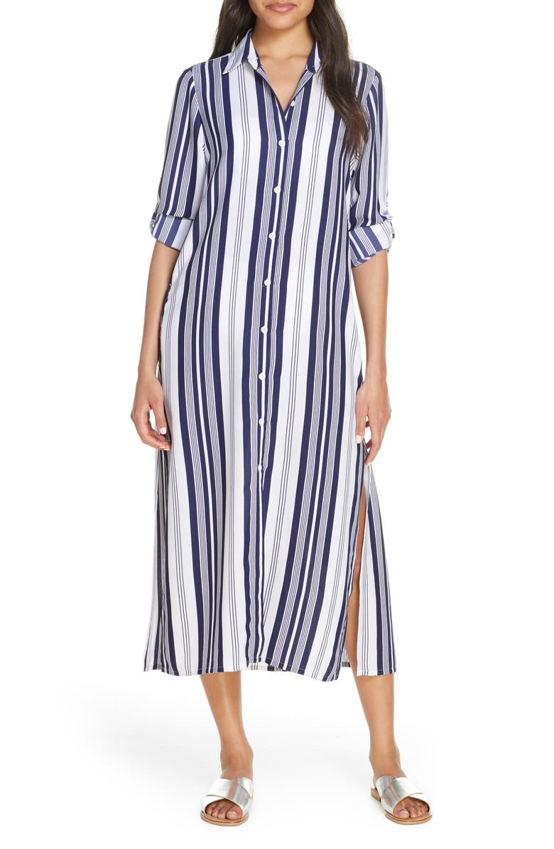 TOMMY BAHAMA Tan Lines Stripes Cover-Up Shirtdress, Main, color, MARE NAVY/ WHITE