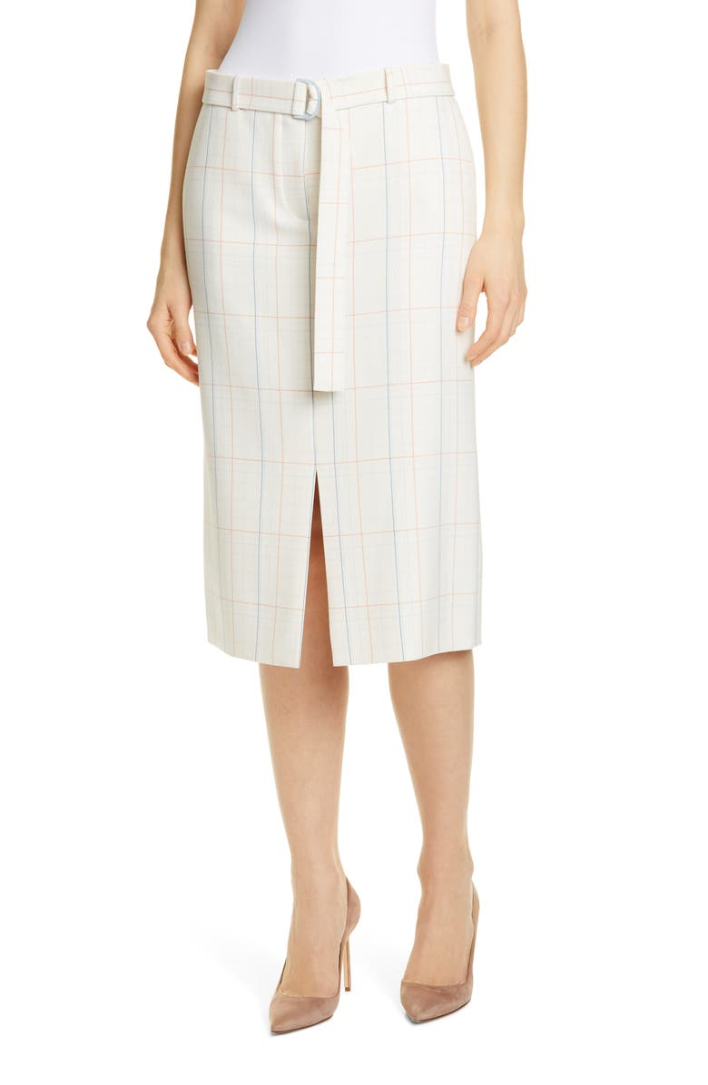 BOSS Valyris Belted Check Pencil Skirt, Main, color, 100