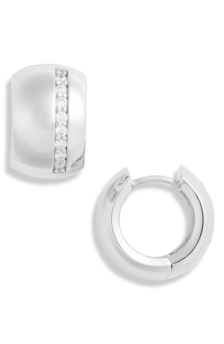 ARGENTO VIVO Stripe Puff Huggie Hoop Earrings, Main, color, SILVER
