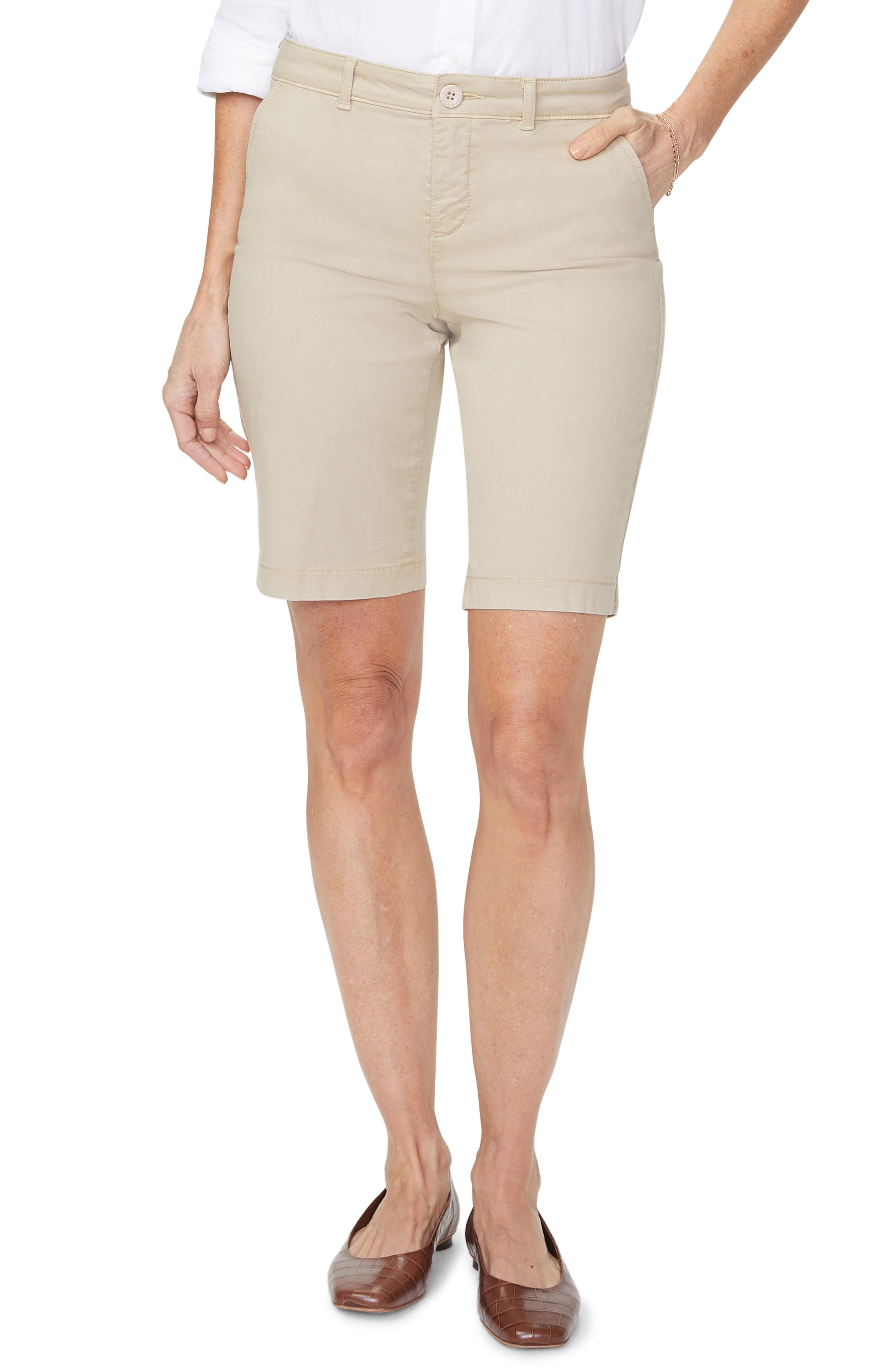 Petite Women's Nydj Stretch Cotton Blend Twill Bermuda Shorts,  10P - Beige