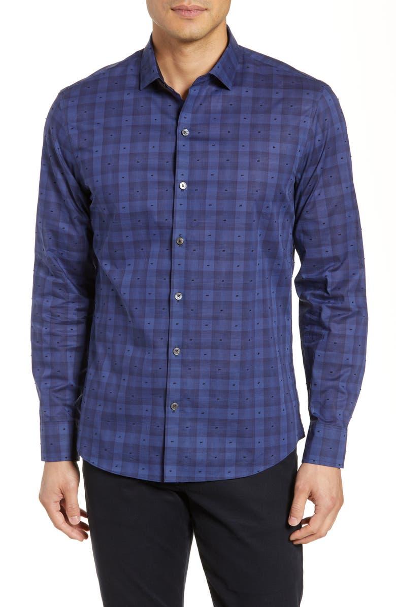 ZACHARY PRELL Tobler Regular Fit Check Sport Shirt, Main, color, 401