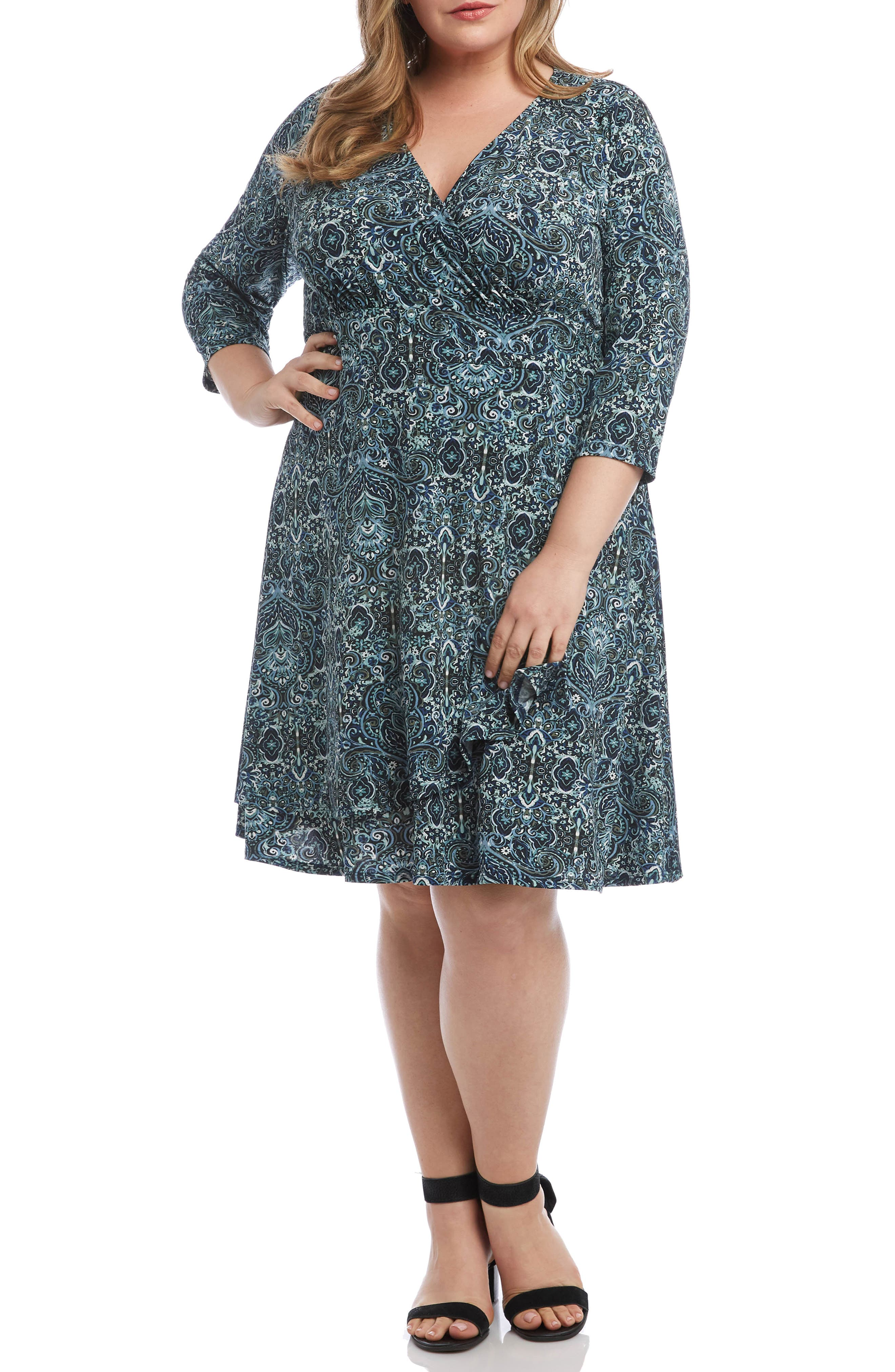 Plus Size Karen Kane Cascade Paisley Print Faux Wrap Dress, Black