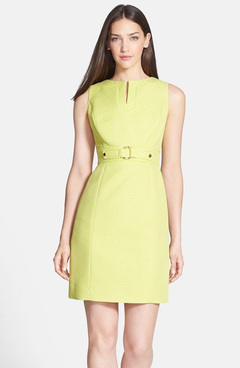 TAHARI Belt Detail Jacquard Sheath Dress, Main, color, 355