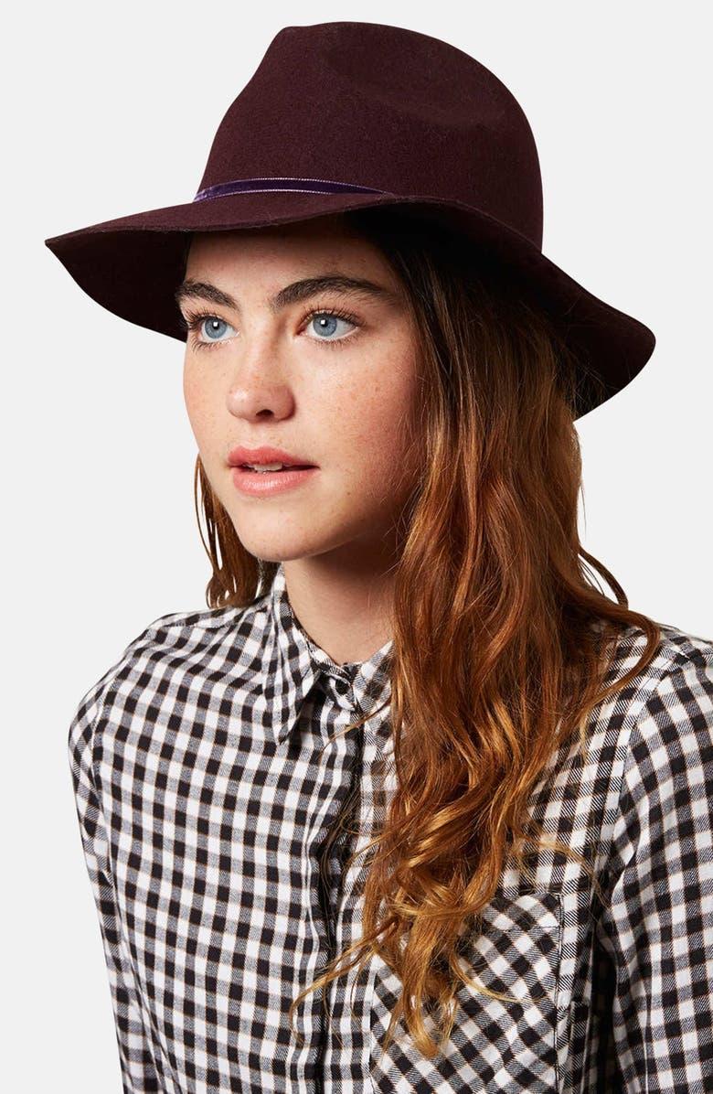 TOPSHOP 'New Clean Edge' Wool Fedora, Main, color, BURGUNDY