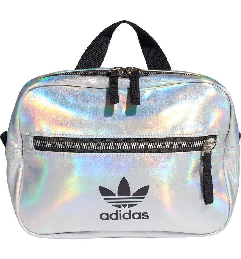 ADIDAS ORIGINALS Mini Airliner Metallic Backpack, Main, color, SILVER MET./ IRIDESCENT