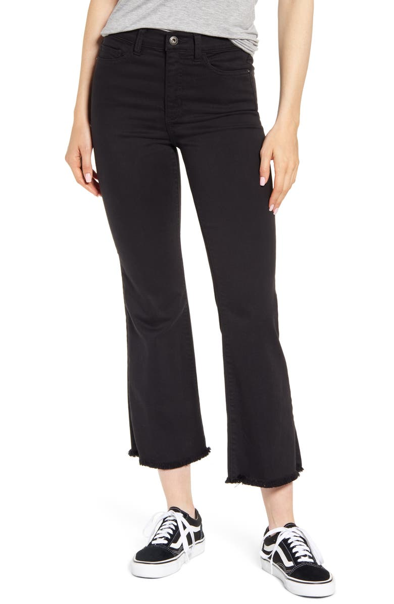 SNEAK PEEK Raw Hem Crop Flare Jeans, Main, color, BLACK