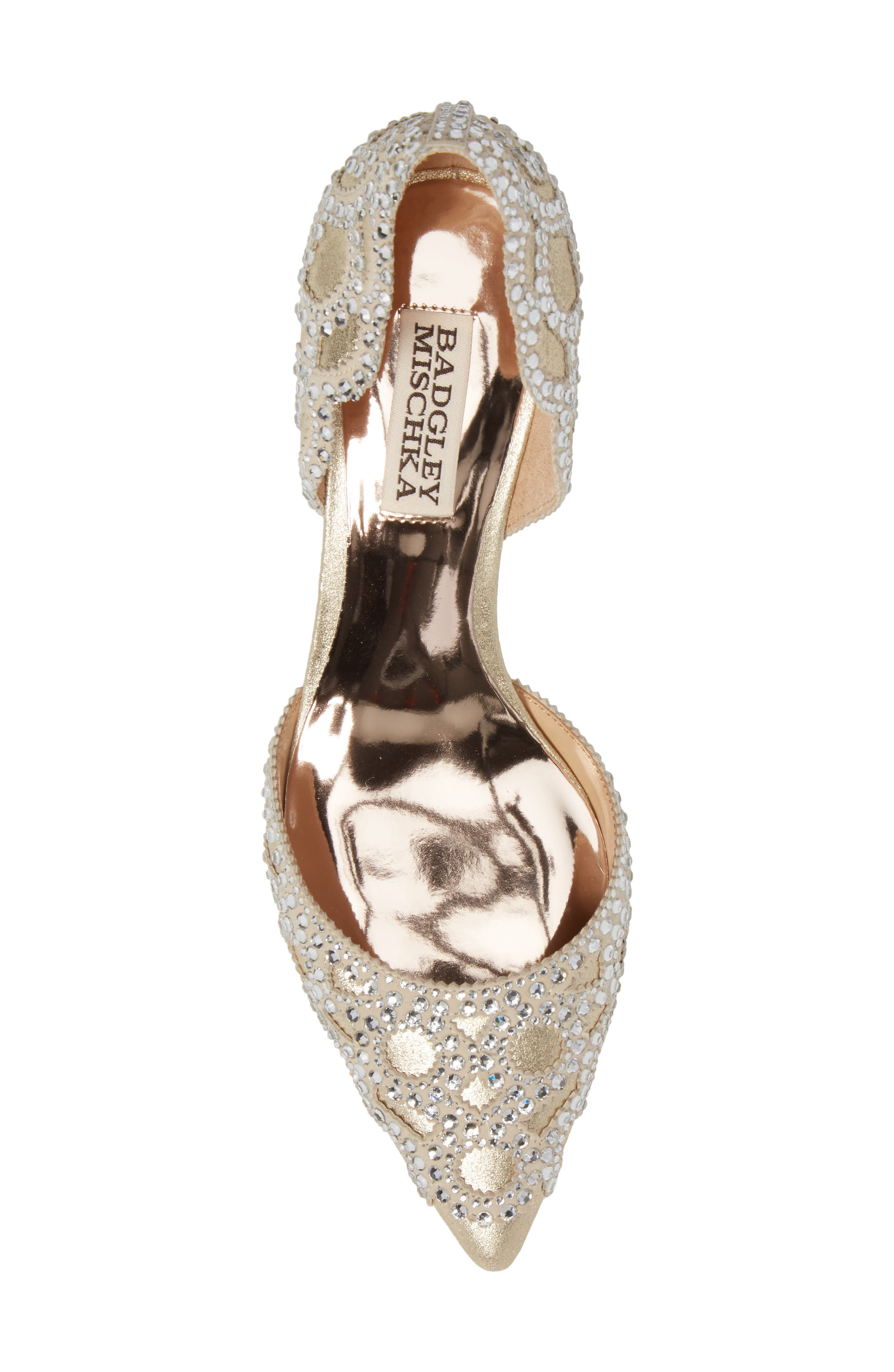 ,                             Badgley Mischka 'Ginny' Embellished d'Orsay Pump,                             Alternate thumbnail 5, color,                             PLATINO METALLIC SUEDE