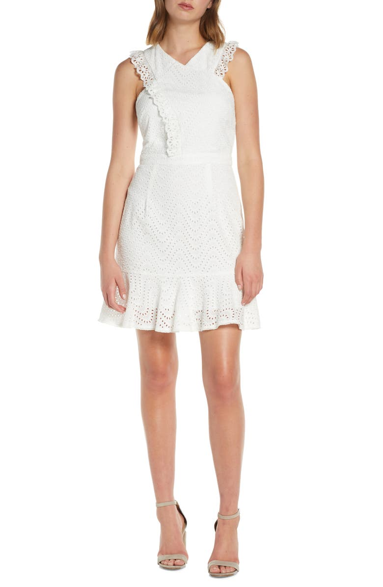 ADELYN RAE Eyelet Fit & Flare Dress, Main, color, WHITE
