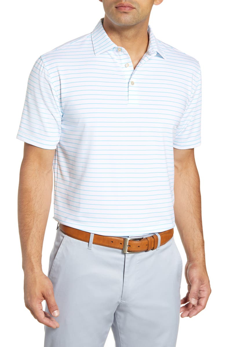 PETER MILLAR Halifax Pinstripe Regular Fit Stretch Jersey Polo, Main, color, WHITE/ BLUEFISH