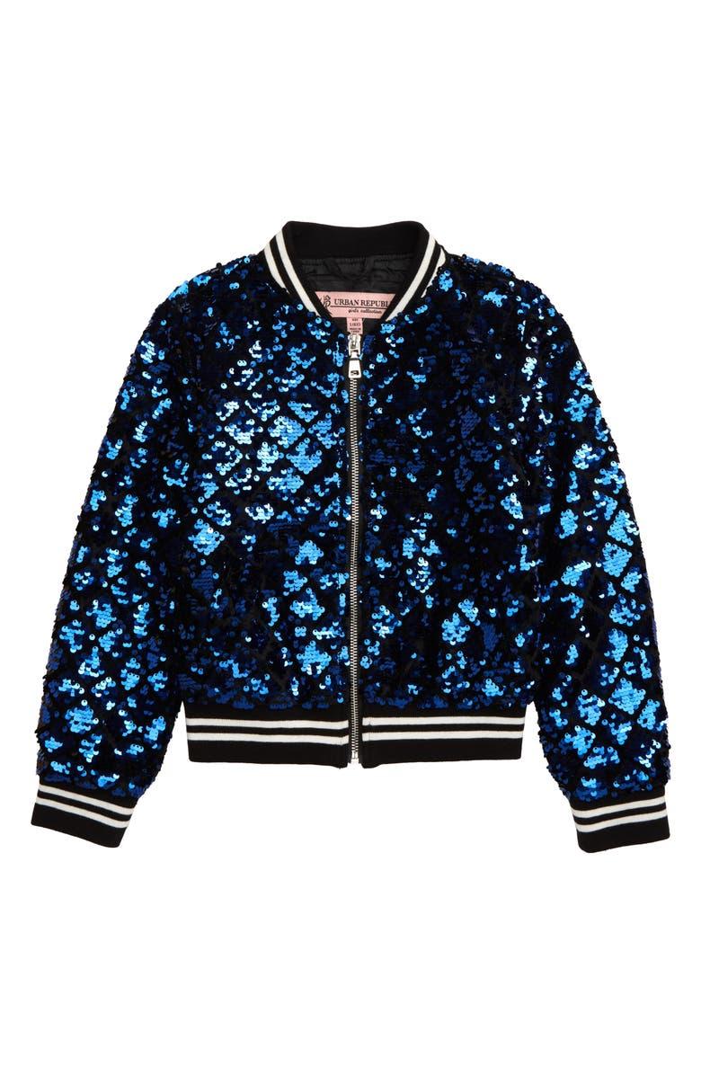 URBAN REPUBLIC Sequin Bomber Jacket, Main, color, BLUE