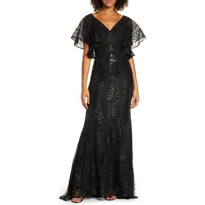 MAC Duggal Sequin Flutter Sleeve Evening Gown, Black