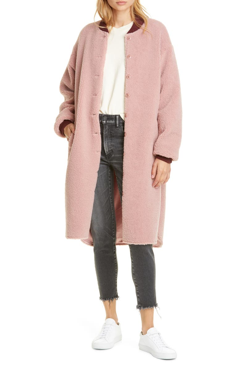 THE GREAT. Longline Bomber Coat, Main, color, 652