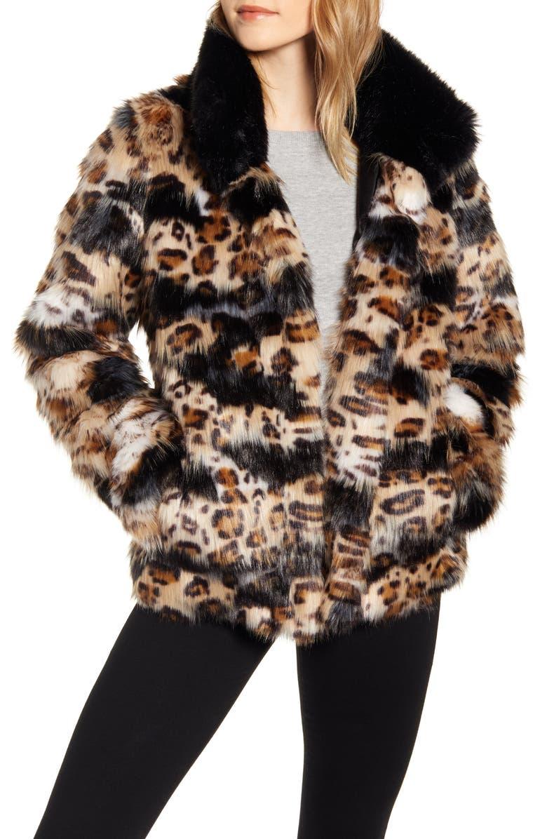SAM EDELMAN Faux Fur Coat, Main, color, PATCHED LEOPARD