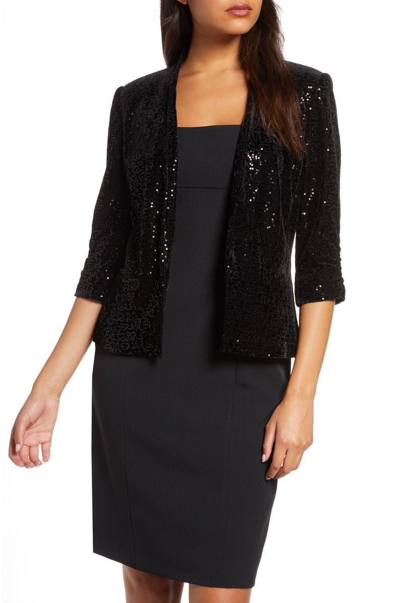 ELIZA J Sequin Ruched Sleeve Blazer, Main, color, BLACK