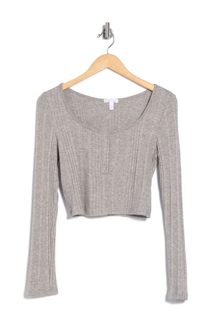Image of Abound Ribbed Henley Crop Top