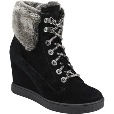Evolve Everett Hidden Wedge Bootie With Faux Shearling Trim, Black