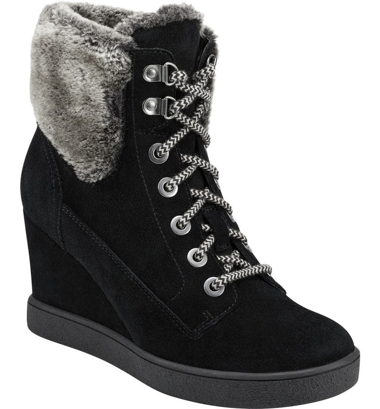 EVOLVE Everett Hidden Wedge Bootie with Faux Shearling Trim, Main, color, BLACK SUEDE