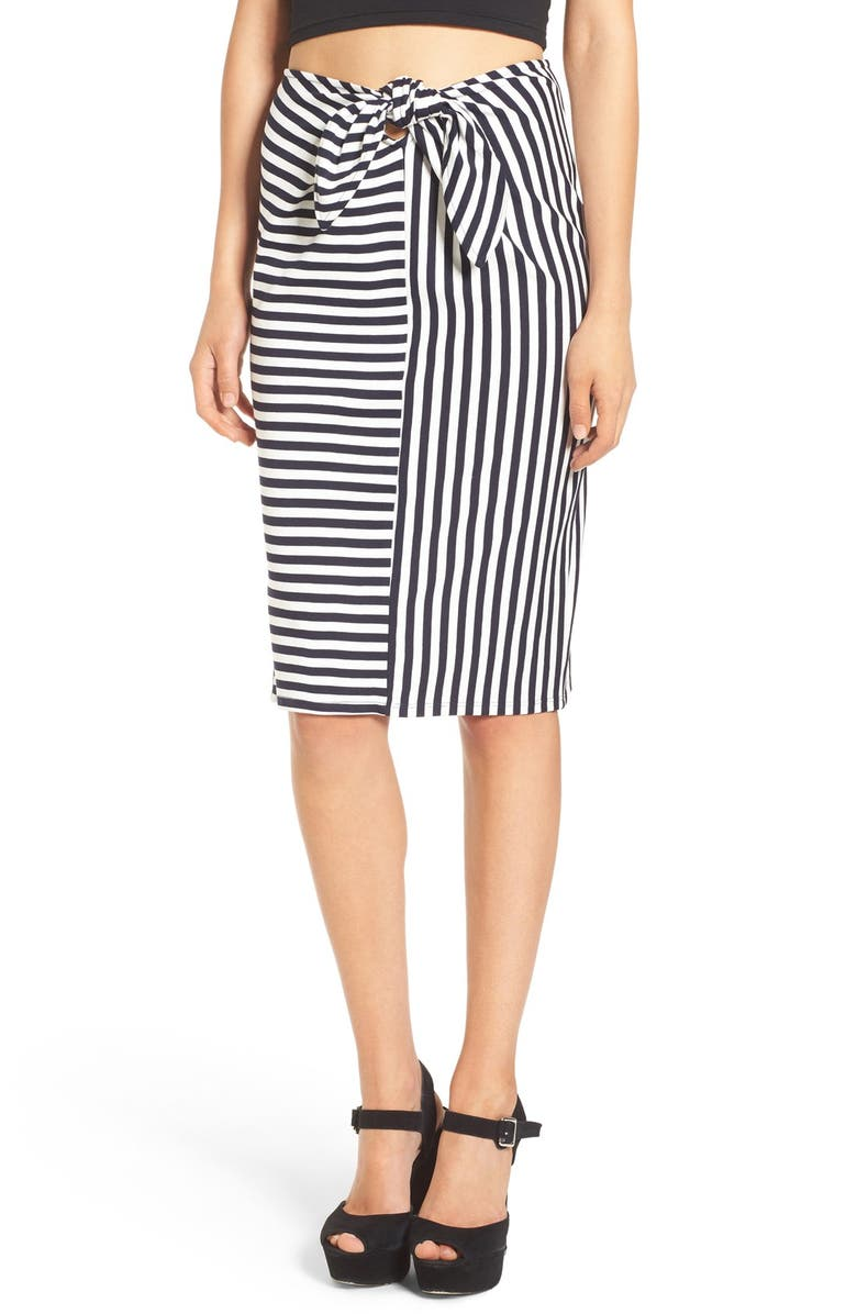 LEITH Stripe Tie Front Skirt, Main, color, 410