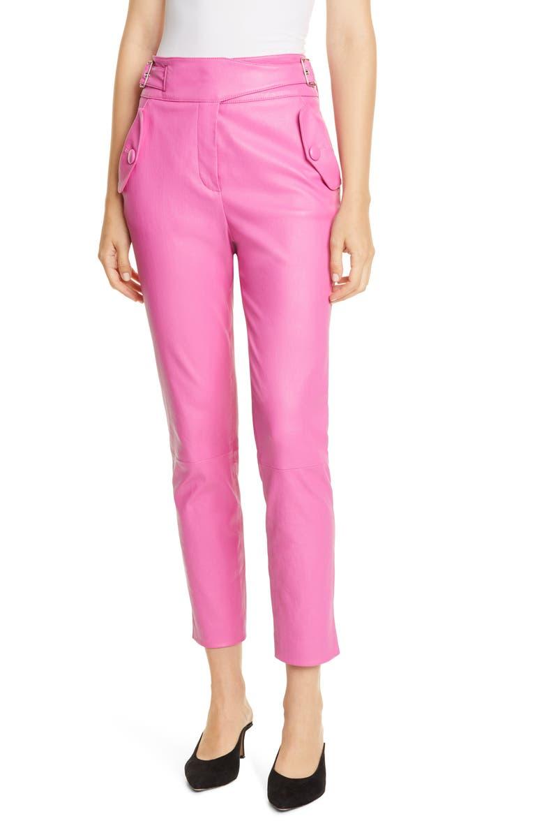 VERONICA BEARD Jania Leather Pants, Main, color, PINK