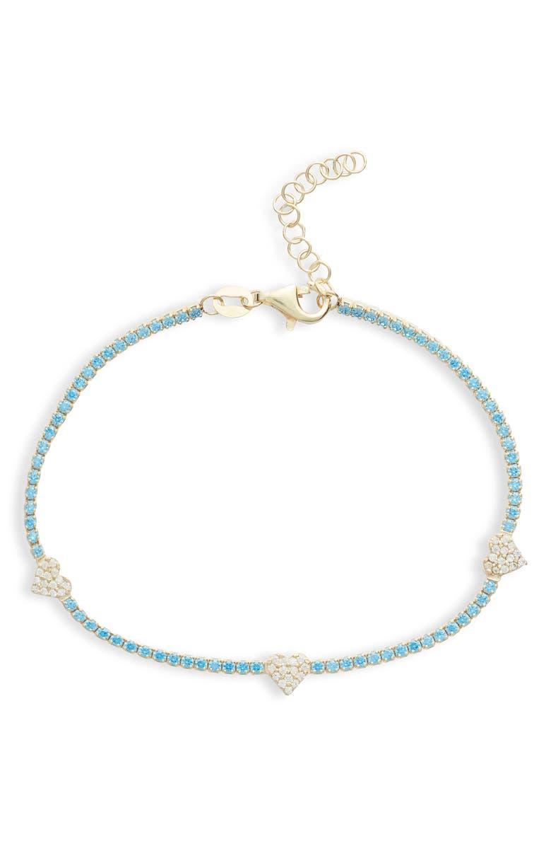 ADINA'S JEWELS Adina's Jewels Pastel Heart Tennis Bracelet, Main, color, TURQUOISE
