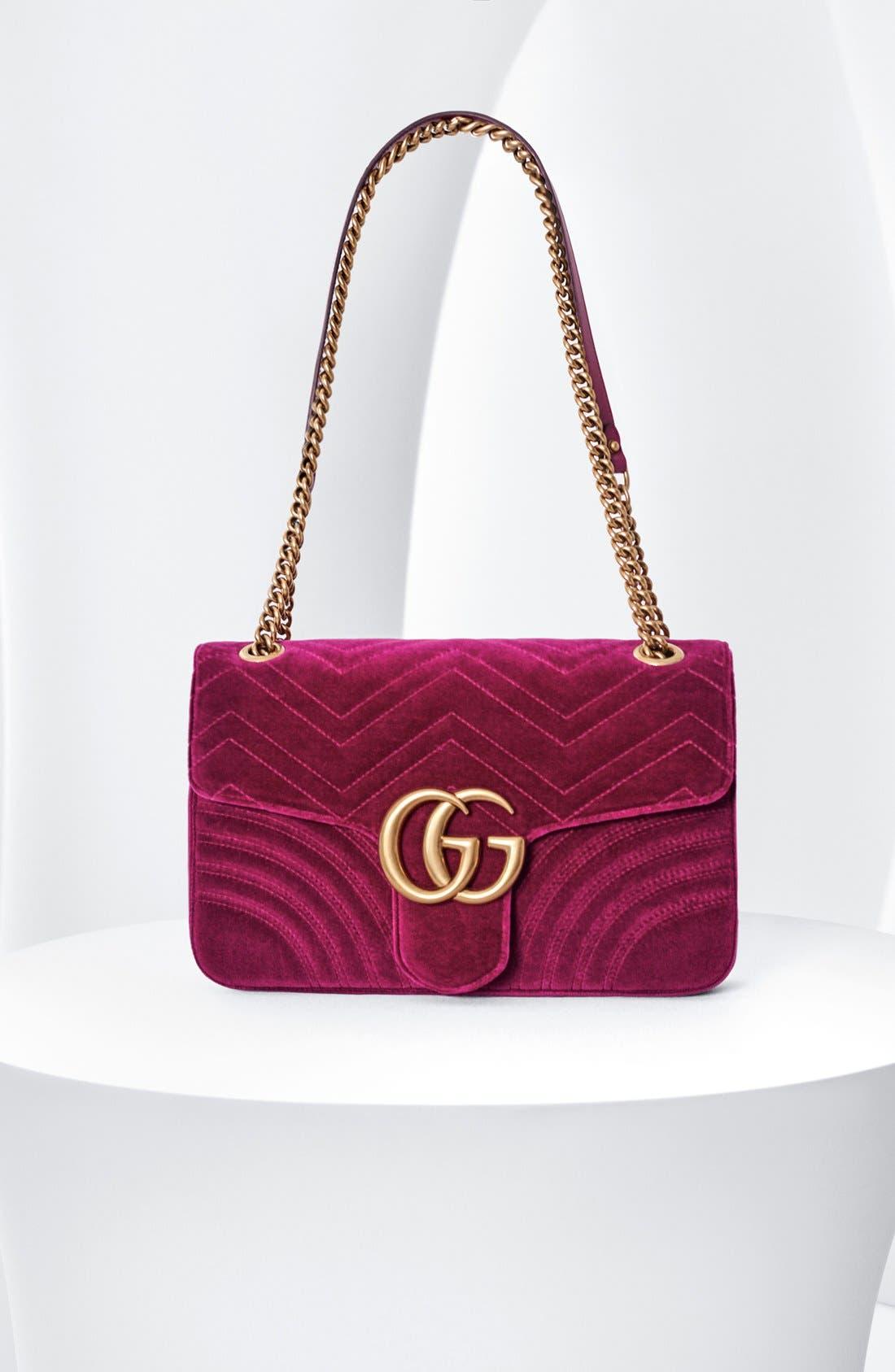 ,                             Medium GG Marmont 2.0 Matelassé Velvet Shoulder Bag,                             Alternate thumbnail 7, color,                             NERO