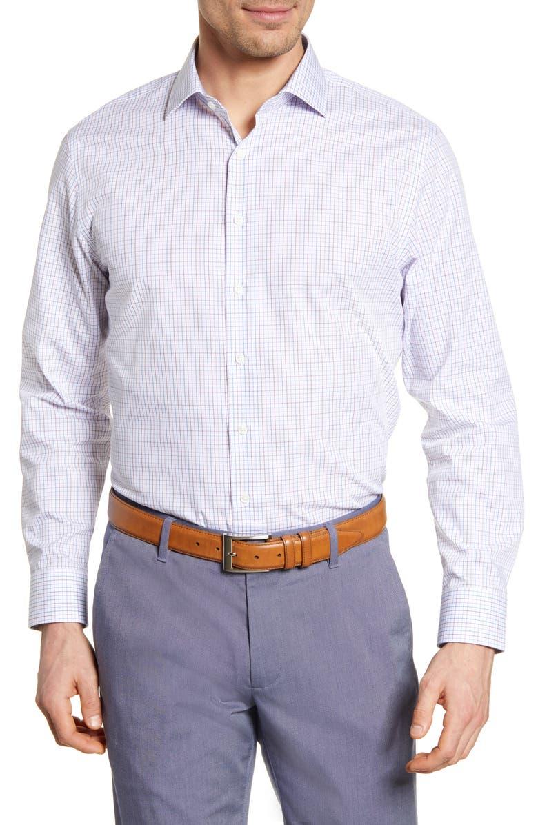NORDSTROM MEN'S SHOP Trim Fit Non-Iron Check Dress Shirt, Main, color, PINK CERISE