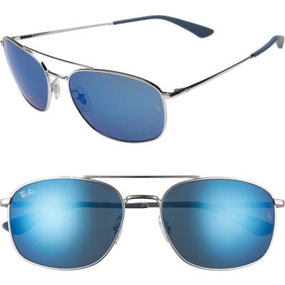 Ray-Ban 60Mm Mirrored Aviator Sunglasses - Silver/ Blue Mirror Blue
