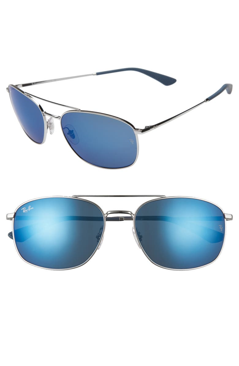 RAY-BAN 60mm Mirrored Aviator Sunglasses, Main, color, 040