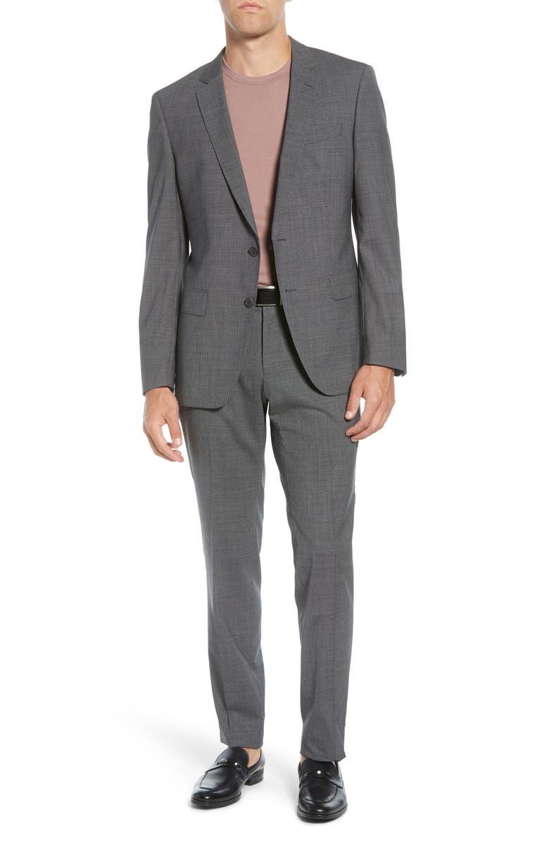 BOSS Huge/Genius Trim Fit Houndstooth Wool Suit, Main, color, MEDIUM GREY