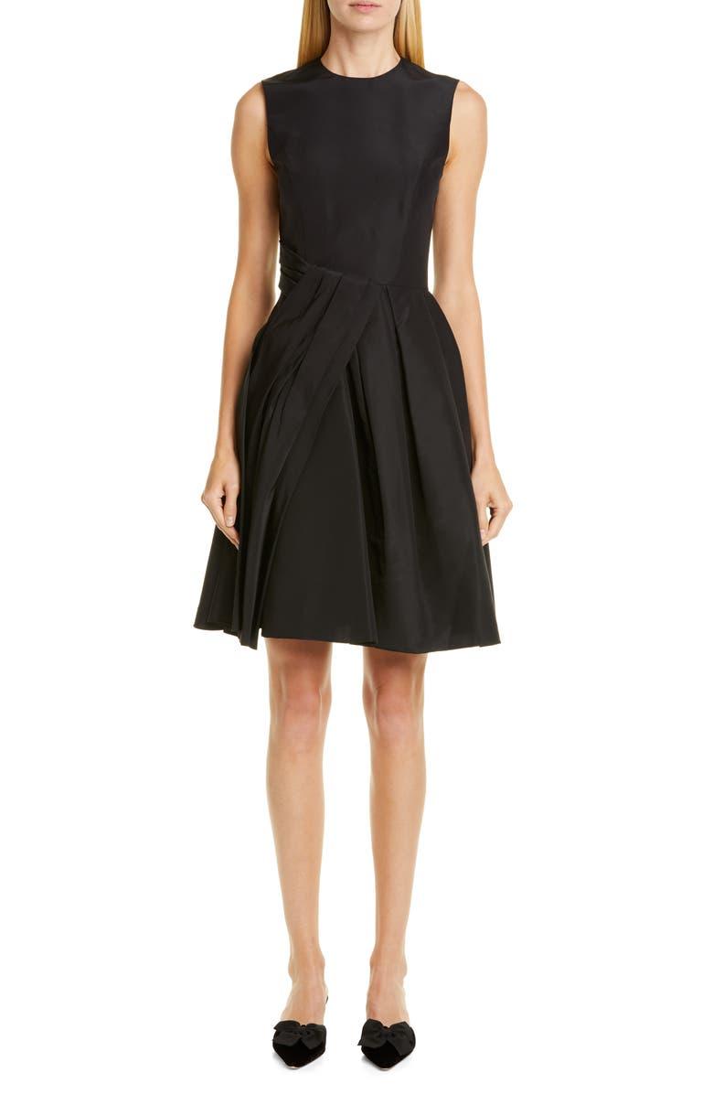 CAROLINA HERRERA Drape Silk Dress, Main, color, BLACK