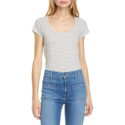 Frame Le Scoop Stripe Organic Cotton T-Shirt