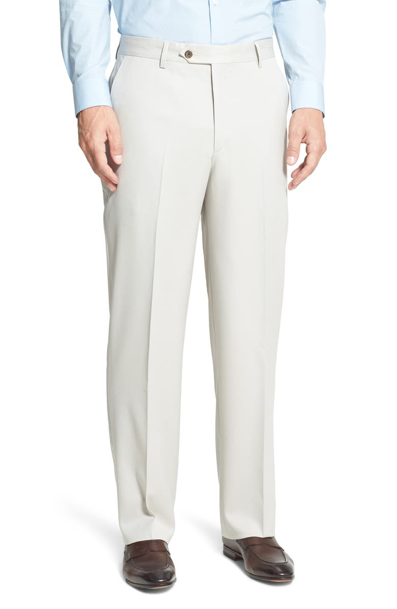 BERLE Flat Front Classic Fit Wool Gabardine Dress Pants, Main, color, STONE