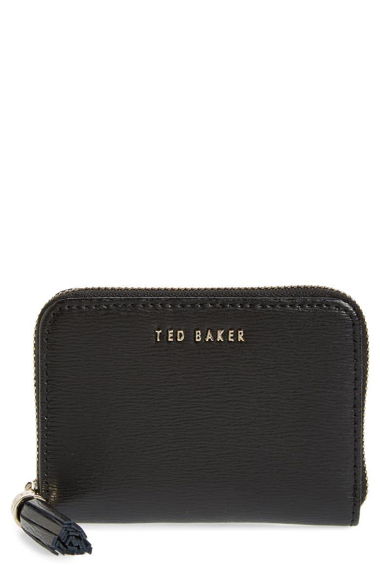 TED BAKER LONDON Belaah Zip Around Leather Wallet, Main, color, BLACK