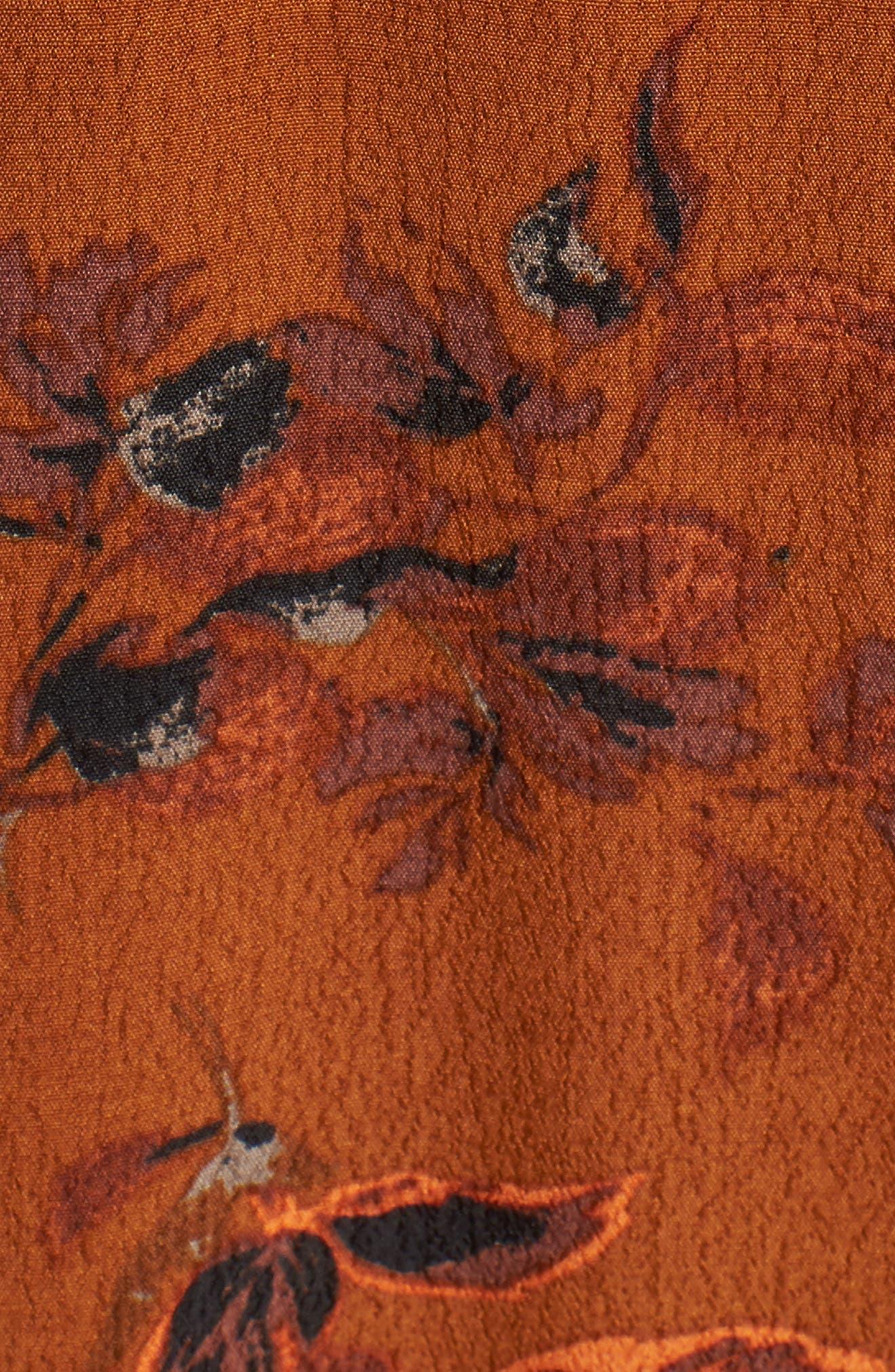 ,                             Bell Sleeve Wrap Midi Dress,                             Alternate thumbnail 8, color,                             RUST CARMEL FALL FOLIAGE