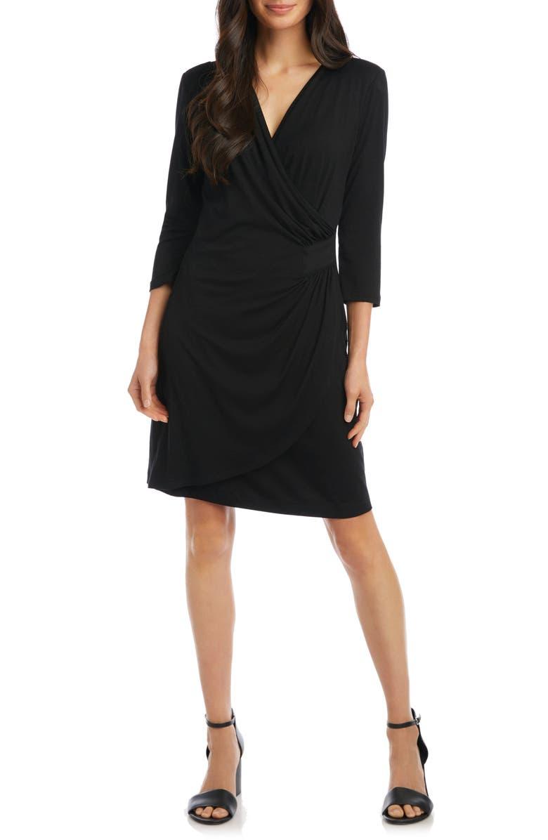 KAREN KANE Kate Faux Wrap Dress, Main, color, BLACK